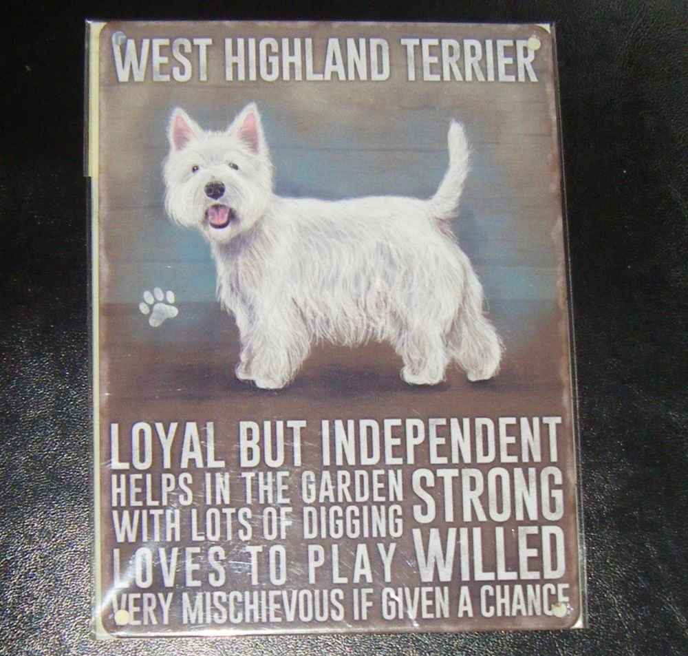 West Highland Terrier  - Dog Breed Metal Wall Sign