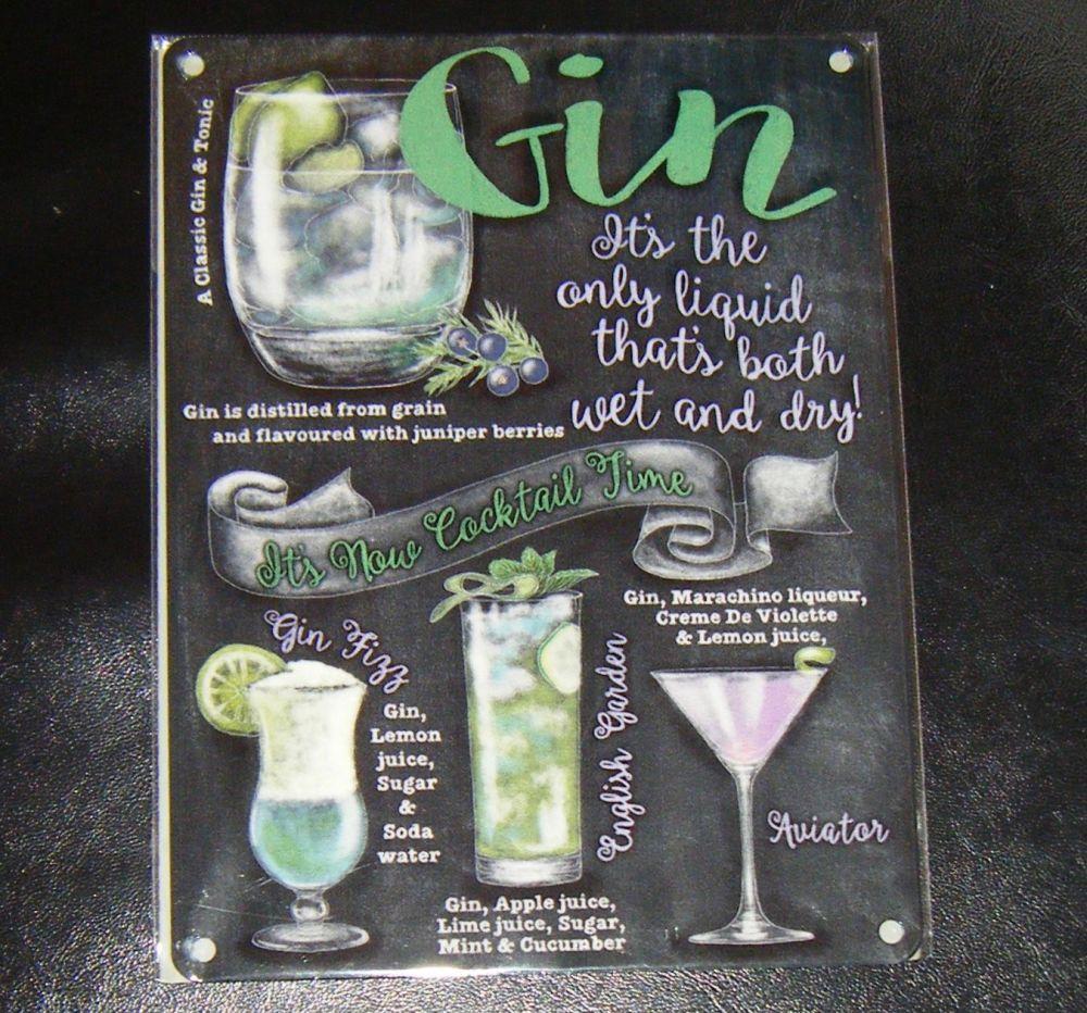 Gin Cocktails Fun Metal Wall Sign