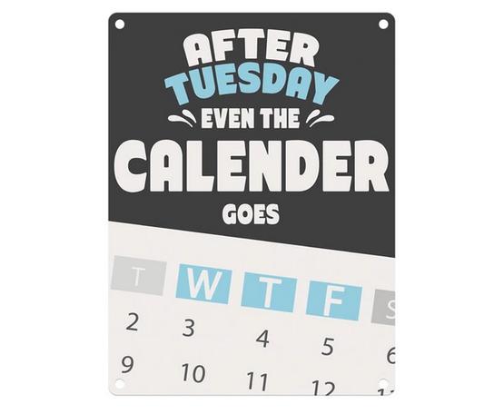 Calendar WTF Fun Metal Wall Sign