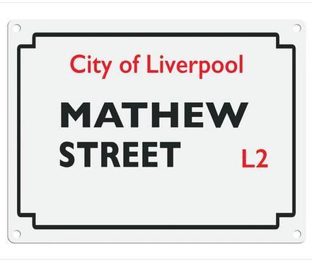 Beatles Street Sign - Mathew Street Metal Wall Sign