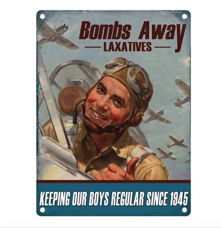 Bombs Away Funny Metal Wall Sign