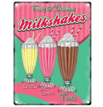 Frosty & Delicious Milkshakes Metal Wall Sign
