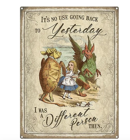 Alice In Wonderland Vintage Style Metal Wall Sign - Different Person Yesterday