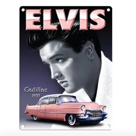 Elvis Pink Cadillac Metal Wall Sign