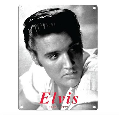 Elvis - Black & White Metal Wall Sign
