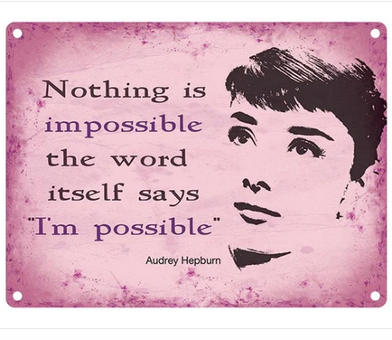 Audrey Hepburn - Nothing Is Impossible Metal Wall Sign
