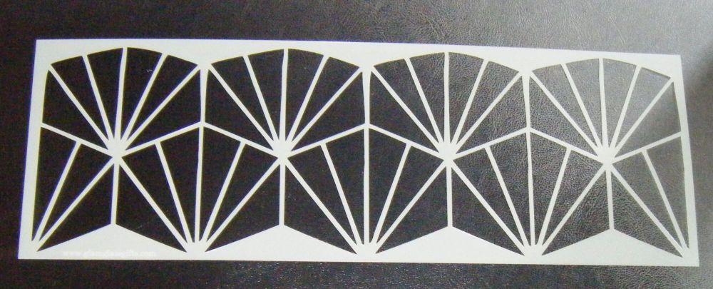 Art Deco Geometric  Design 4 inch Deep Cake Decorating Stencil Airbrush Myl