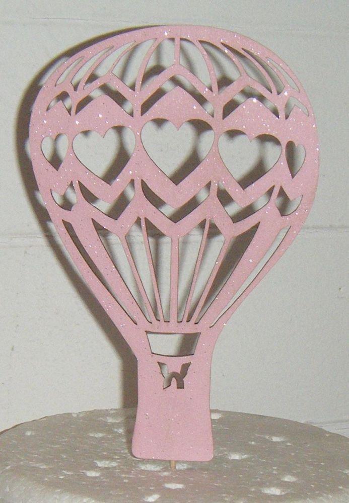Hot Air Balloon Hearts Silhouette Cake Topper