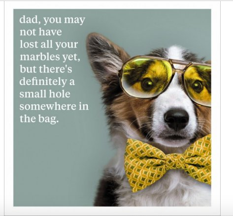 Dad ...Not Lost Your Marbles - Dog Greeting Card Blank Inside