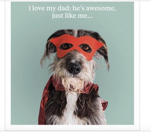I Love My Dad Greeting Card - Dog Greeting Card Blank Inside