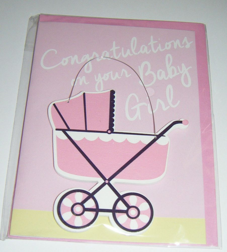 Congratulations on your Baby Girl - Wooden Hanger Greeting Card Blank Inside