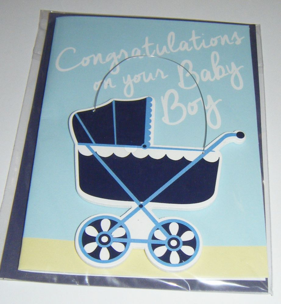 Congratulations on your Baby Boy - Wooden Hanger Greeting Card Blank Inside