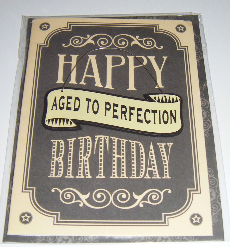 Aged to Perfection - Wooden Hanger Greeting Card Blank Inside