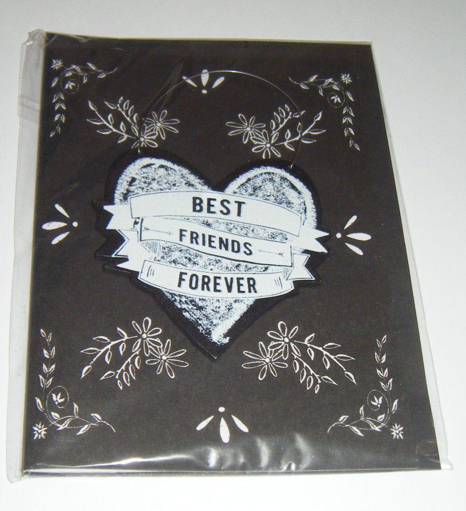 Best Friends Forever - Wooden Hanger Greeting Card Blank Inside
