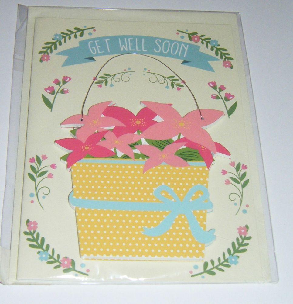 Get Well Soon - Wooden Hanger Greeting Card Blank Inside