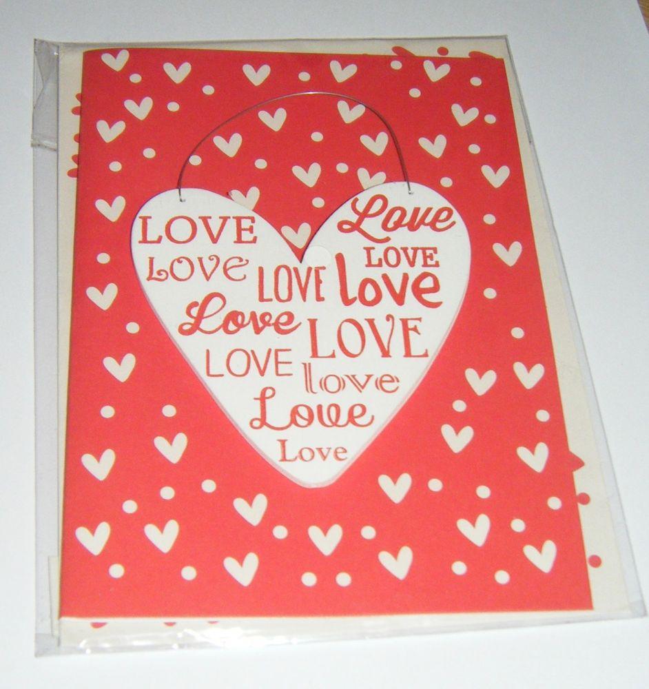 Love Heart - Wooden Hanger Greeting Card Blank Inside