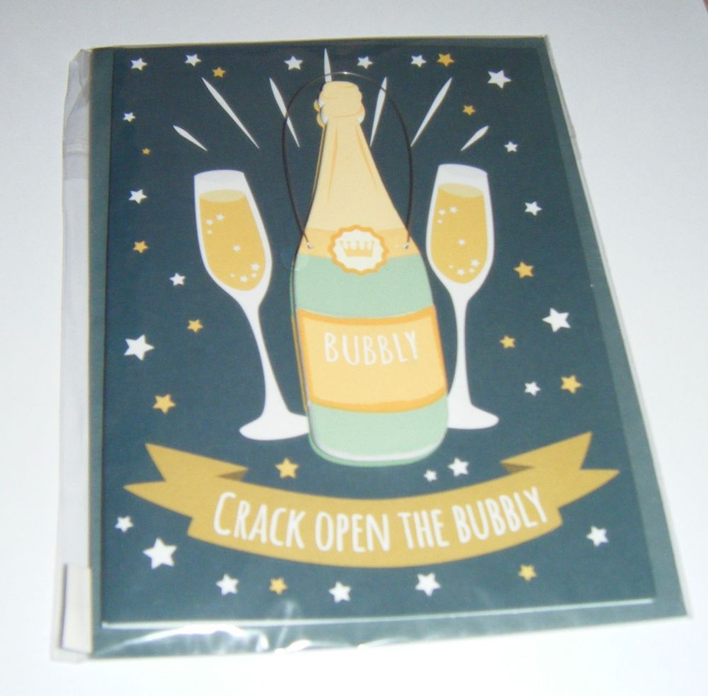 Crack Open the Bottle - Wooden Hanger Greeting Card Blank Inside