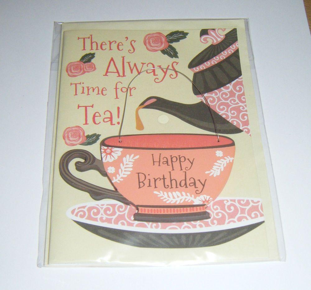 Always Time For Tea Birthday - Wooden Hanger Greeting Card Blank Inside