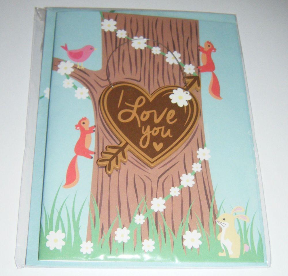 Love You - Wooden Hanger Greeting Card Blank Inside