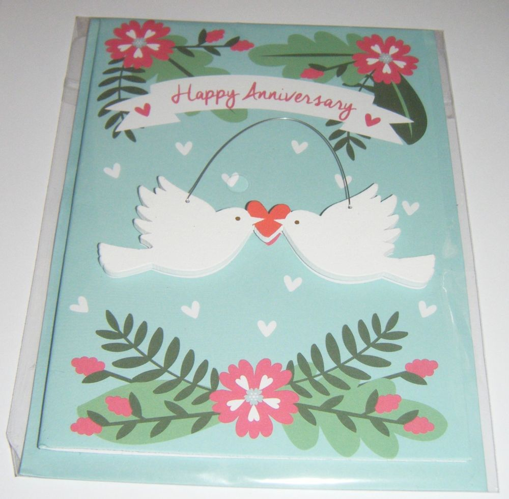 Happy Anniversary Lovebirds - Wooden Hanger Greeting Card Blank Inside
