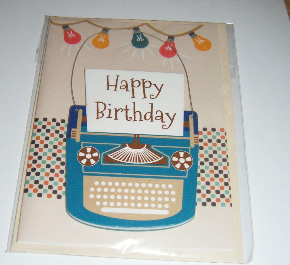 Happy Birthday Typewriter - Wooden Hanger Greeting Card Blank Inside