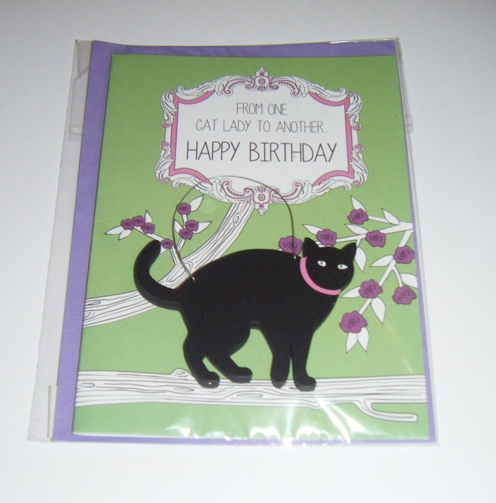 From One Cat Lady - Wooden Hanger Greeting Card Blank Inside