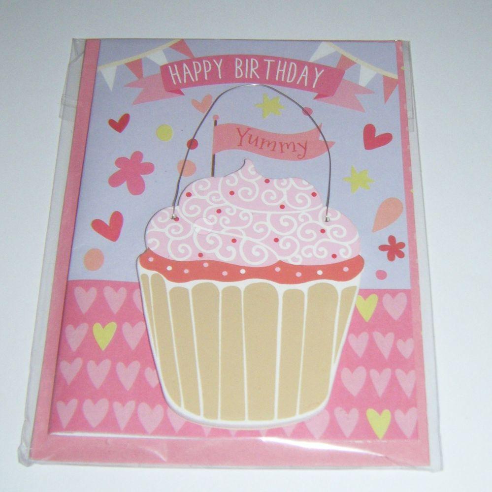 Happy Birthday Cupcake - Wooden Hanger Greeting Card Blank Inside