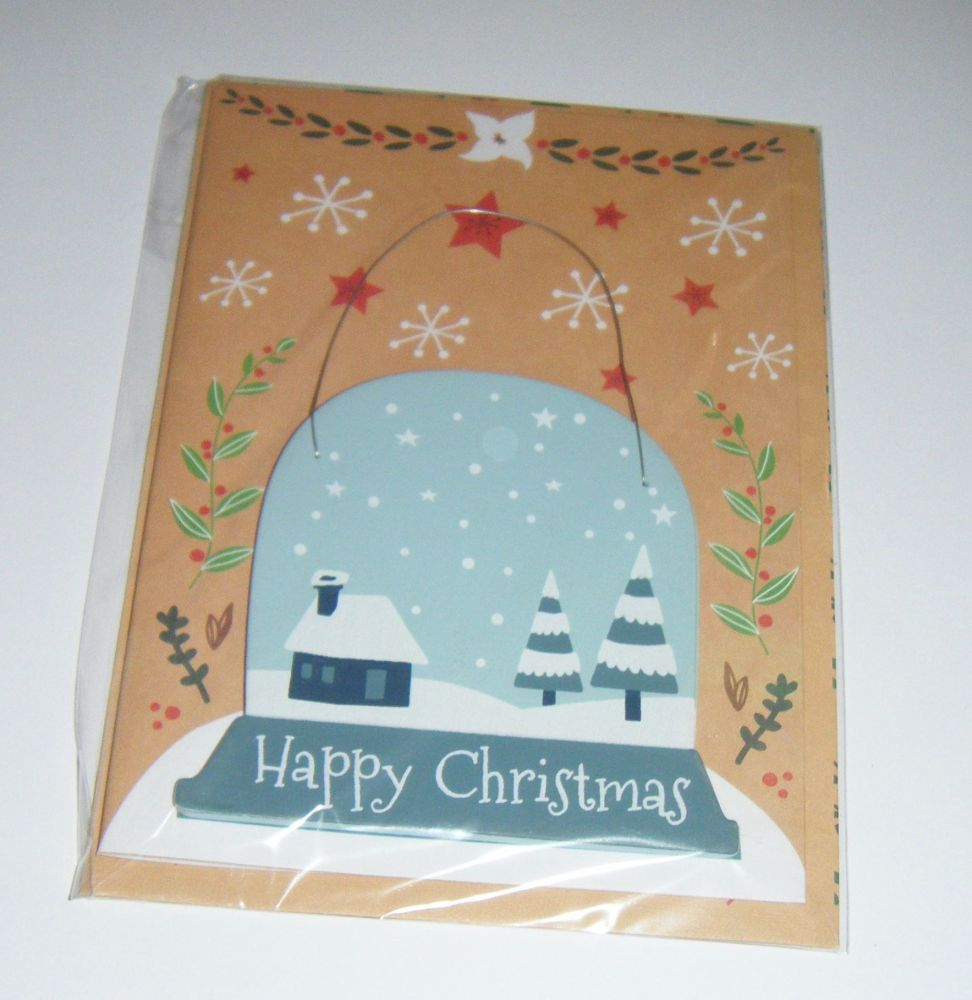 Happy Christmas Bauble - Wooden Hanger Greeting Card Blank Inside