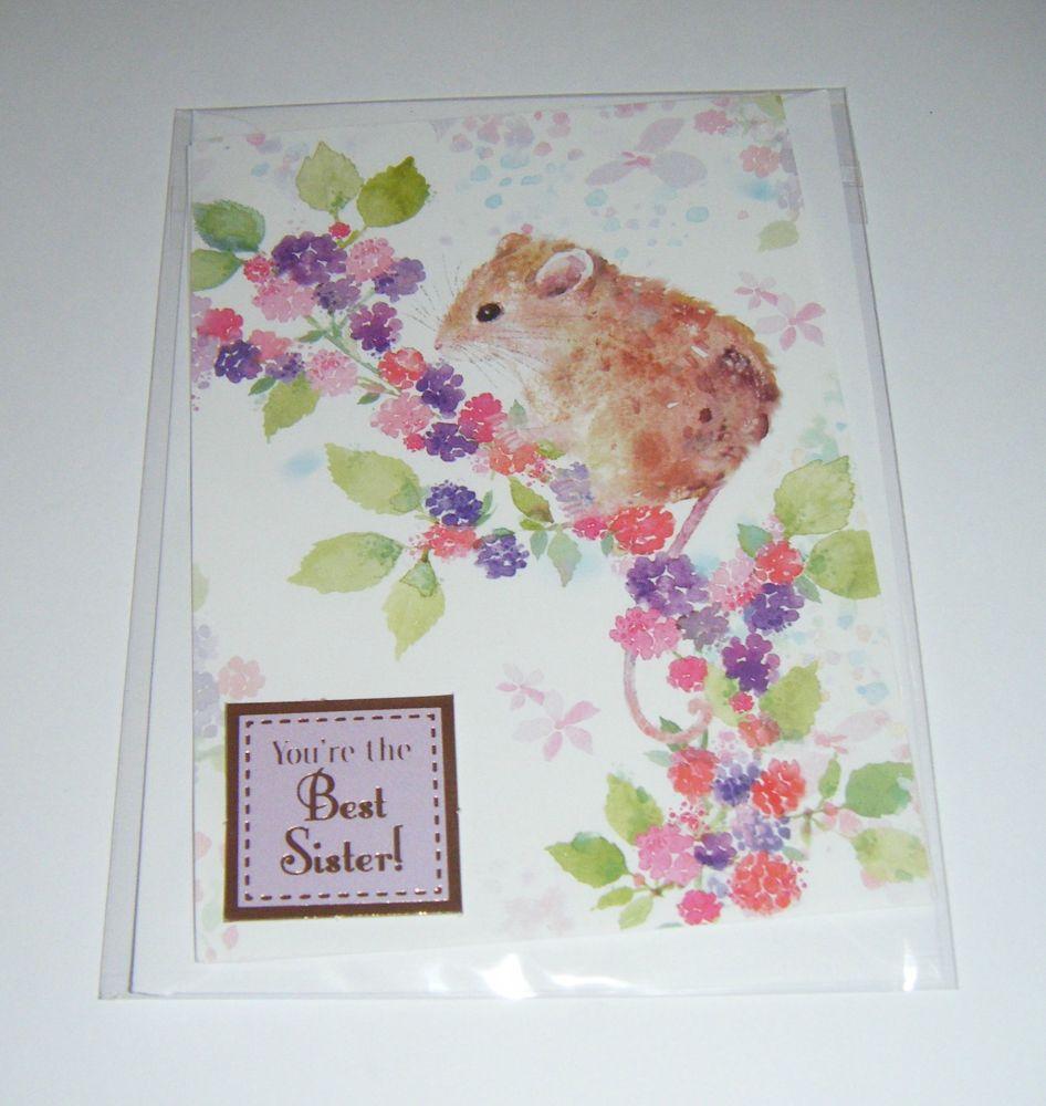 Best Sister Doormouse - Greeting Card Blank Inside