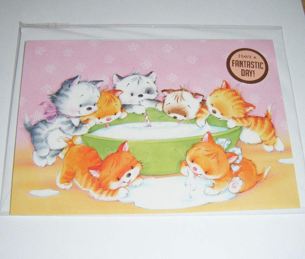 Have A Fantastic Day Kittens - Greeting Card Blank Inside