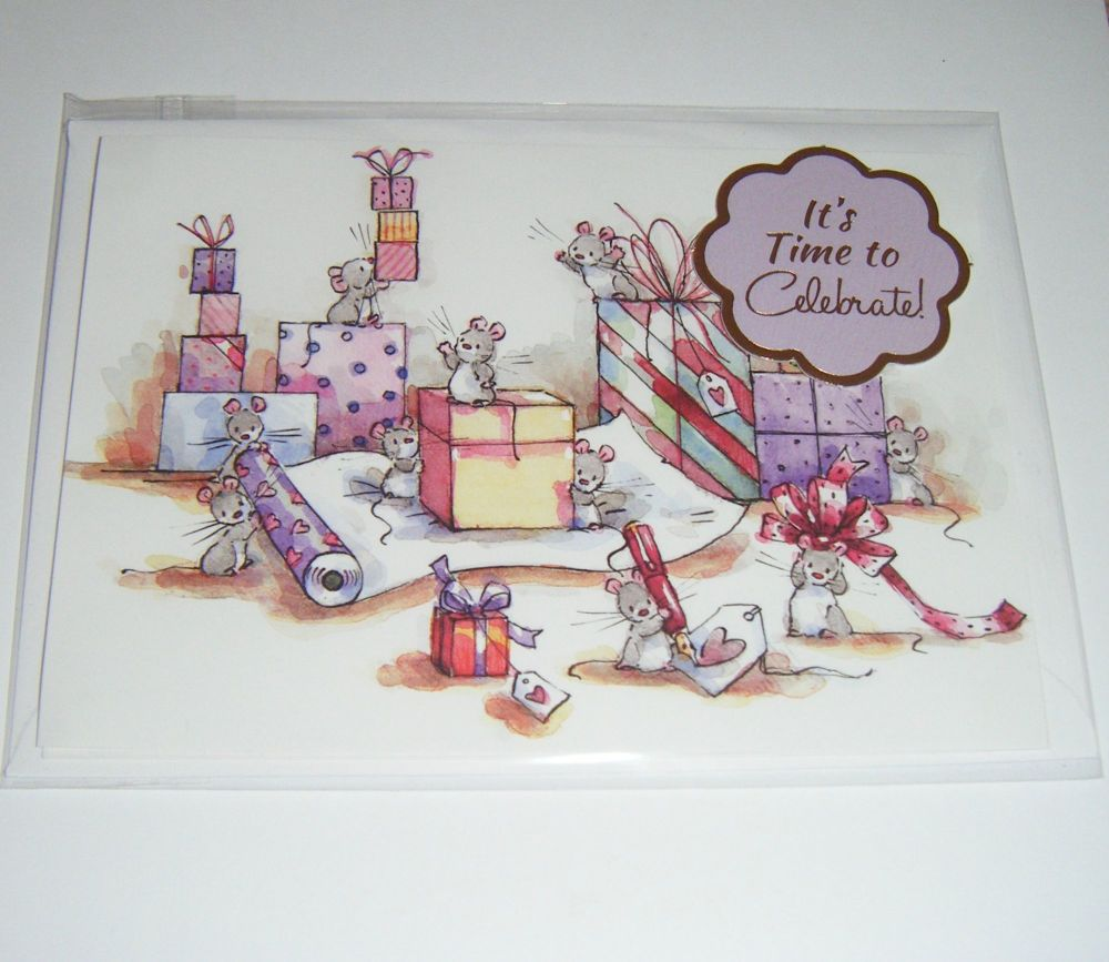 It's Time To Celebrate Mice - Greeting Card Blank Inside