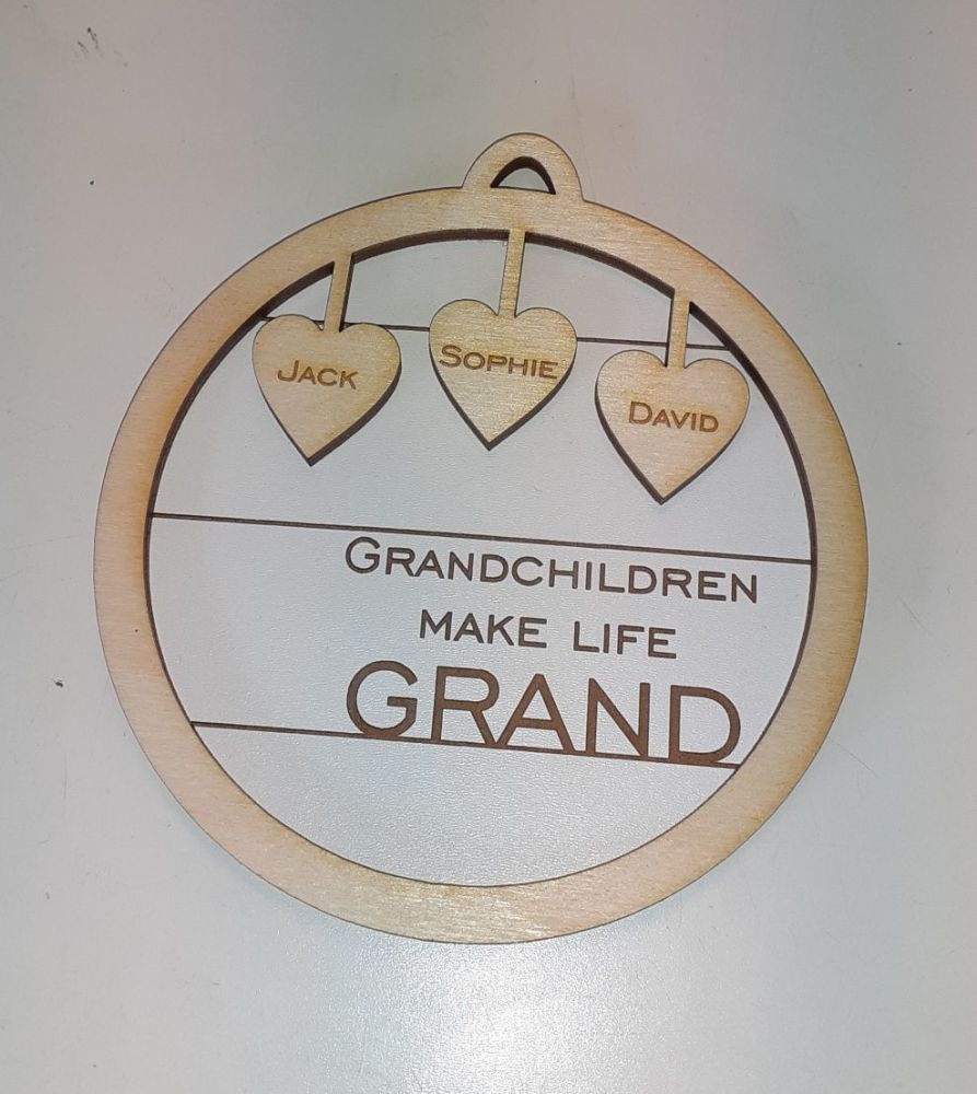 Grandchildren Make Life Grand Round Tree Bauble Decoration