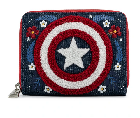Captain America Shield Flowers Loungefly Purse Wallet