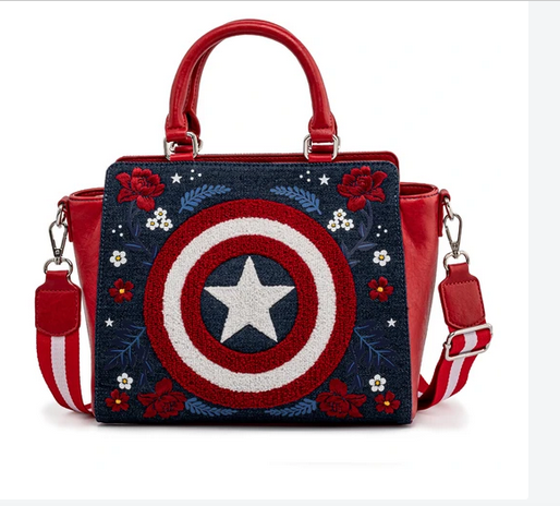 Captain America 80th Anniversary Floral Shield Crossbody Loungefly Bag