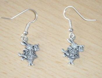 Antique Tibetan Silver Alice in wonderland Rabbit Earrings