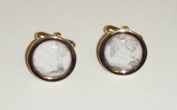 Vintage World Map Globe Round Cufflinks
