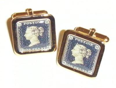 Penny Black Stamp Collector Fun Cufflinks