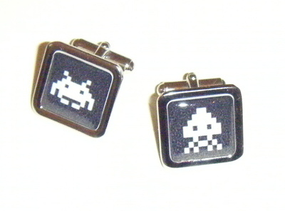 Space Invaders Retro  Square Cufflinks - Mens gift - wedding - fun