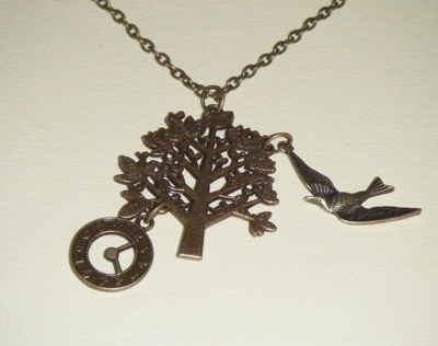 Necklace - Bronze tone - Tree Bird and Clock