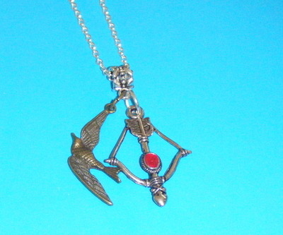 Necklace - bow and arrow with blood silver plate necklace with Bronze Bird