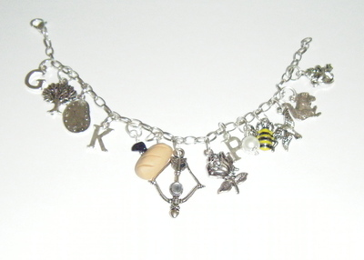 Loaded Charm bracelet - Bow, Arrow, Tree, Pearl, Squirrel, K, P, G, Coal, B