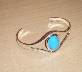 Turquoise Aqua Cabochon Bangle Bracelet