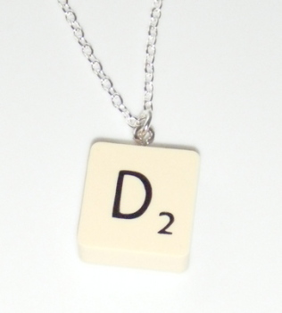 Custom Scrabble Tile Letter Pendant Necklace