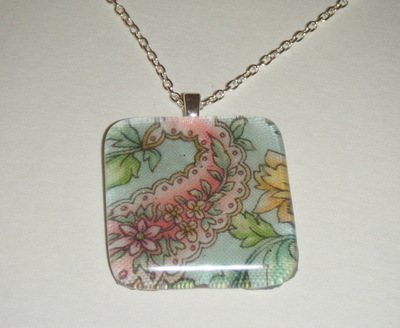 Fabric Paisley Pattern Pink and Pale Green Glass Pendant Necklace
