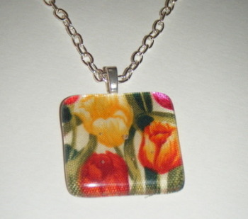 Bright Colours Fabric Tulip Flowers Glass Pendant Necklace
