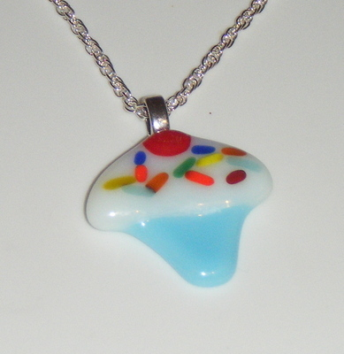 Cute Cupcake with Hundreds and Thousands Glass Pendant Necklace