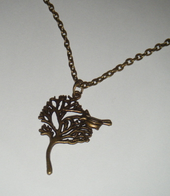 Necklace -  Bronze tone - Little bird in a tree
