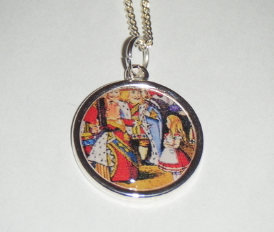 Alice in Wonderland picture Antique Silver Disc Pendant  SP 18
