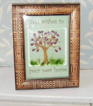 Infused Copper Leaves Tree Fused Glass New Home Frame