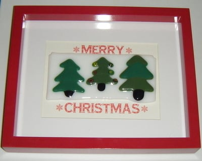 Christmas Trees - Merry Christmas -  Art Glass Picture Frame